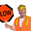 Construction worker holding a slow sign — Stockfoto