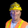 Dirty construction worker wearing hard hat — Stock Photo