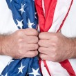 Man holding flag — Stock Photo