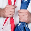 Man holding flag — Stockfoto