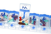 Pill box for medication — Stock Photo