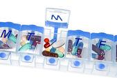 Pill box for medication — Stock Photo