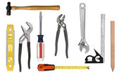 Carpentry tool montage — Stock Photo