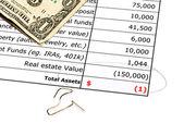 Devalued real estate balance sheet — Stock Photo