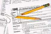 Tax forms and frustration — Stock Photo