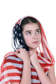 Young girl with American flag headdress scarf — Stock Photo