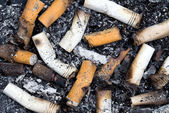 Burnt cigarette butts and ashes — Stock Photo