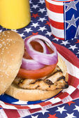 Chicken burger on Fourth of July — Stock Photo