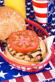 Chicken burger on Fourth of July — Stock fotografie