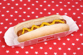 Hotdog with mustard in patriotic tablecloth — Stock Photo