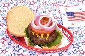 July fourth hamburger — Stock Photo