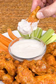 Chicken hot wings and dipping sauce — Stock Photo