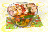 Chicken kebob skewers with bell peppers — Stock Photo