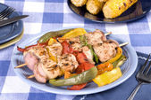 Barbecued chicken kebab — Stock Photo