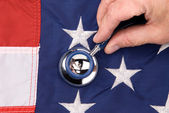 American flag and stethoscope — Stock Photo