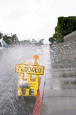 Flooded street sign — Stock Photo
