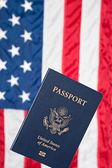 American flag and passport — Stock Photo
