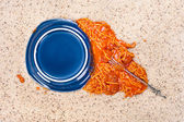 Dropped plate of spaghetti on carpet — Stock Photo