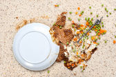 Spilled plate of food on carpet — Stock Photo
