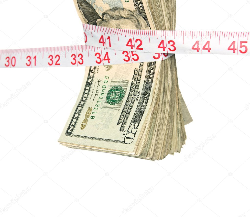 A bundle of cash being squeezed tighter due to the recession. — Stock Photo #7637354
