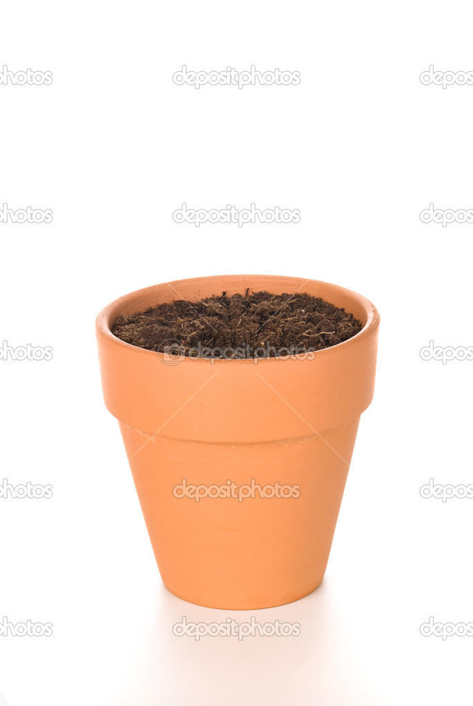 Clay flower pot with soil stock photo kelpfish 7637994 for Clay potting soil