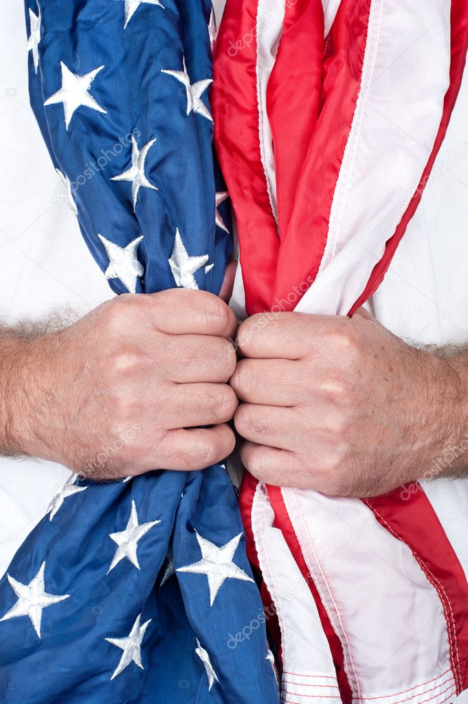A patriotic man holds an American flag around his neck. — Stock Photo #7638374