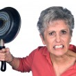 Angry mother and frying pan — Stock Photo #7746239