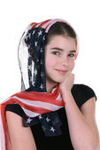 Young girl with headdress scarf — Stock Photo
