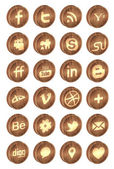 Realistic wooden social media icons — Stock Vector
