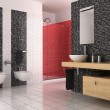 Stock Photo: Modern bathroom with black, red and white tiles