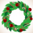 Stock Vector: Christmas wreath with balls