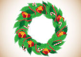 Christmas wreath with gifts — Stock Vector