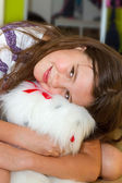 Girl with cuddly toy — Stock Photo