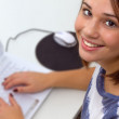 Beautiful girl on Laptop — Stock Photo