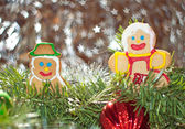 Mr and Mrs Snowman cookie in Christmas wreath — Stock Photo