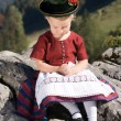 Little girls in Bavarian pray - Stock Photo