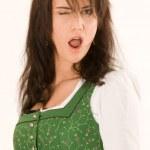 Emotional Bavarian girl — Stock Photo