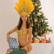 Stock Photo: Sambgirl from SantClaus with sack