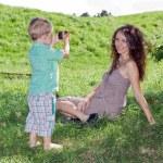 mały fotograf — Zdjęcie stockowe