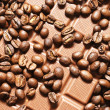 Chocolate and coffee beans - Stock Photo