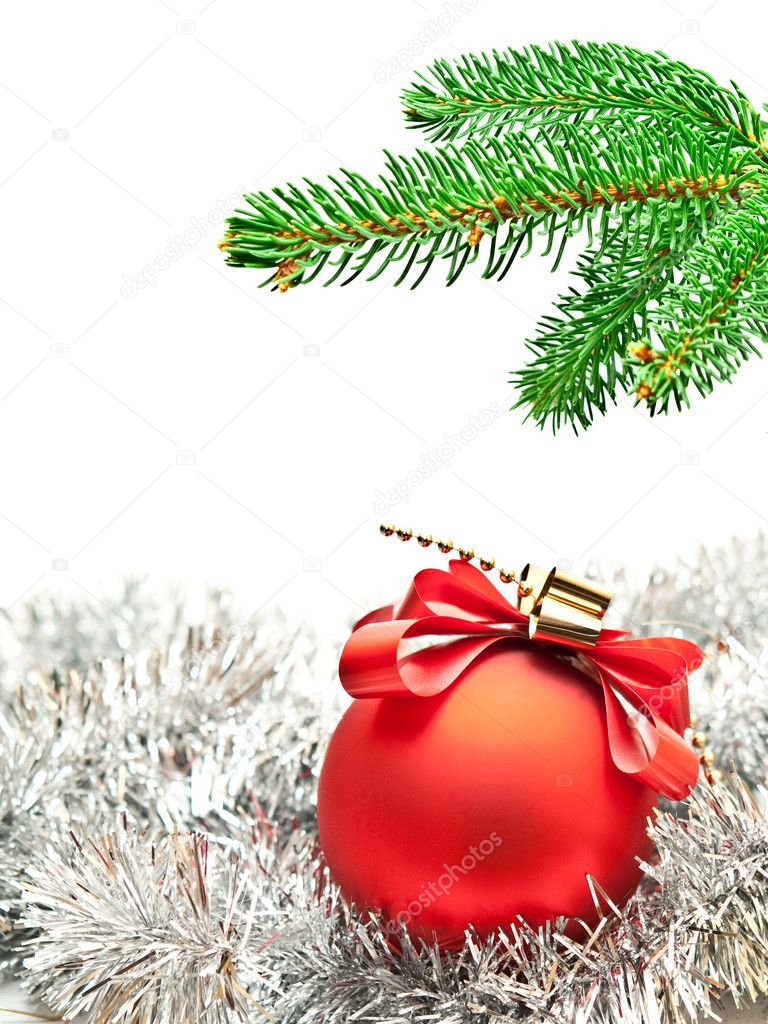 Branch of christmas tree on christmas background — Stock Photo #7766074