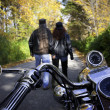 Foto Stock: Bikers Couple Walk