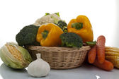 Autumn fresh vegetables in basket on a white background — Stock Photo