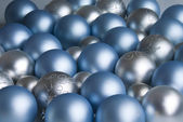 Colorful blue and silver christmas decoration balls — Stock Photo