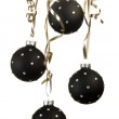 Black Christmas ball ornaments with crystalls with ribbons on w — Stock Photo