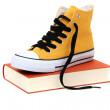 Yellow shoe with book — Stock Photo