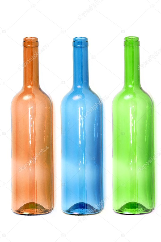 Empty colored wine bottles stock photo pterwort 7238569 for How to color wine bottles