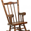 Old wooden rocking chair on white background — Foto Stock