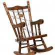 Stock Photo: Old wooden rocking chair captured with chain and padlock on white
