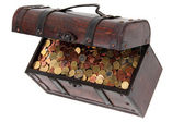 Open treasure chest with money — Stock Photo
